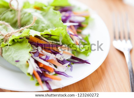 cabbage salad wrapped in lettuce, closeup - stock photo