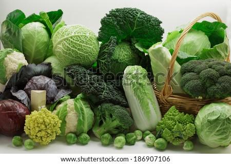 Cabbage variety on white background - stock photo