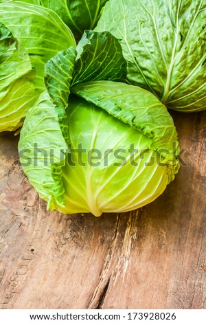 Cabbage vegetable place on old wooden - stock photo