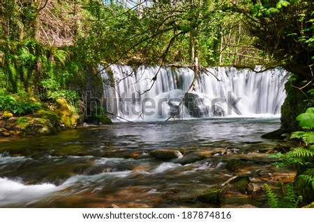 Cabe river Waterfall in San Pedro do Incio, in O Caurel (or Courel) Mountain Range, Lugo, Spain - stock photo