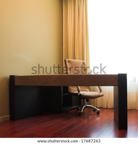 Cabiet interior, table and chair - stock photo