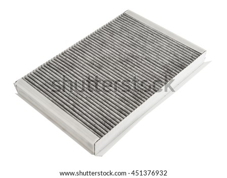 Cabin car with a carbon filter. the air filter, car the spare part on a white background