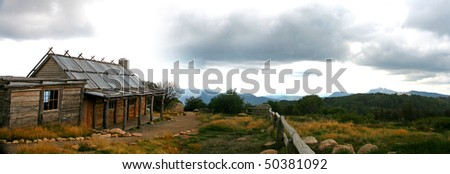 cabin in high country - stock photo
