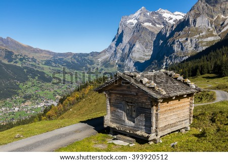 Cabin in the Alps in Switserland in Grindelwald with in the background the Wetterhorn.