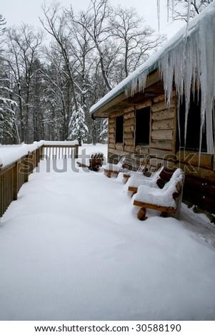 Cabin in the Winter - stock photo