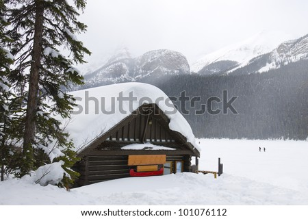 Cabin in the woods at Lake louise, Alberta, Banff National Park, Canada - stock photo