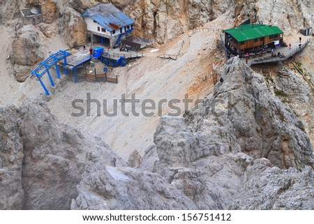 Cabin lift station and refuge on Monte Cristallo, Dolomite Alps, Italy