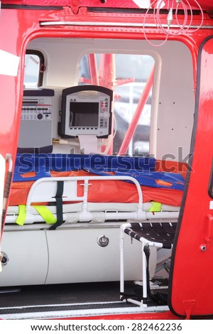 cabin of an ambulance helicopter - stock photo