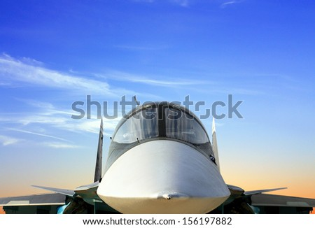 Cabin of the fifth-generation fighter made in Russia - stock photo
