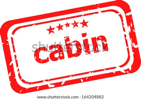 cabin on red rubber stamp over a white background, raster