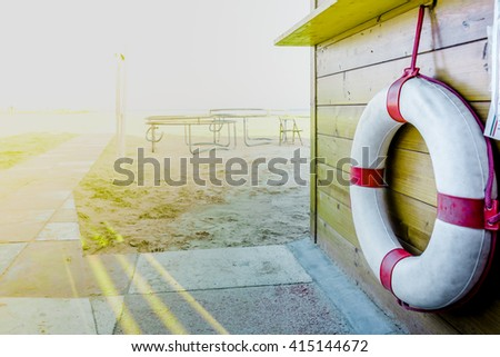 Cabin with lifesaver - stock photo