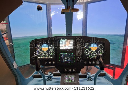 Cabine of helicopter simulator - stock photo