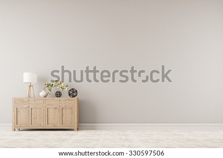 Cabinet with plant and lamp in front of a background wall (3D Rendering) - stock photo