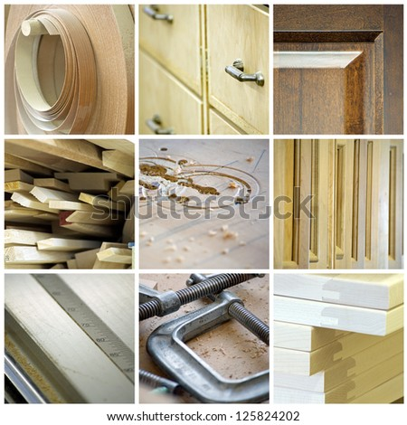 Cabinetry collage, made up of various woodworking and tool images - stock photo