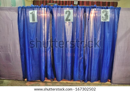Cabins of election centre on deputy election on 03 November 2013 in Gostomel, Ukraine. - stock photo