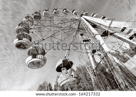 Cabins of the abandoned Ferris wheel, Pervouralsk, Urals, Russia