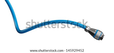 Cable and connector isolated on white - stock photo