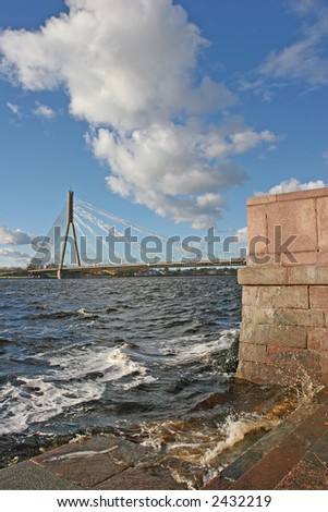 Cable bridge over the Daugava river (Riga, Latvia, Europe)