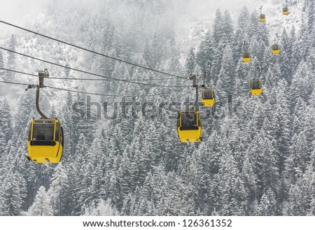 Cable cabin lifts (Mayrhofner bergbahnen) in a ski resort Mayrhofen to Penken peak - Zillertal region, Austria - stock photo
