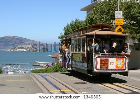 Cable Car and Alcatraz - stock photo