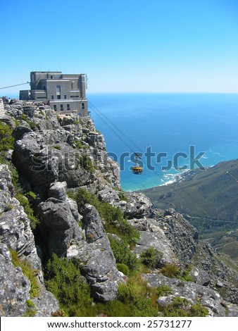 Cable car approaching the station on top of table Mountain, Cape Town, South Africa - stock photo