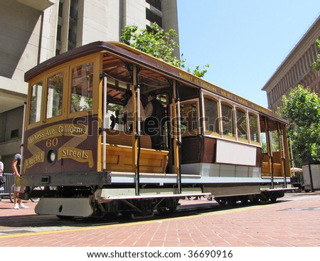 cable car at san francisco - stock photo