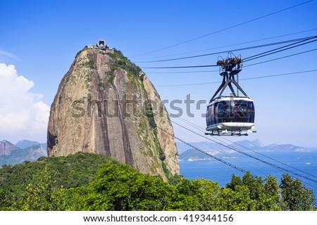 Cable car at Sugar Loaf Mountain in Rio de Janeiro, Brazil. - stock photo