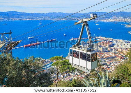 Cable car close to the top of Gibraltar rock. Cable car is a comfortable way to get to Alameda Wildlife Conservation Park in Gibraltar. - stock photo
