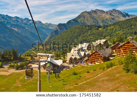 Cable Car in Alpe d'Huez, French Alps, France - stock photo