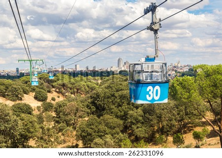 Cable car in Madrid in Spain in a beautiful summer day - stock photo