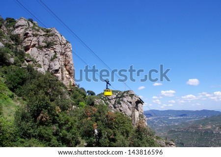 Cable car in Mountain of Montserrat in Catalonia, Spain - stock photo