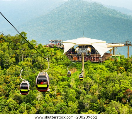 Cable car on Langkawi Island, Malaysia. - stock photo