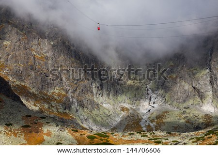 Cable car on the Lomnicky peak in Tatra Mountain.