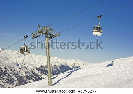 Cable car over mountain