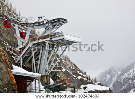cable car station at Mer de Glace, the largest glacier in France, Chamonix Mont Blanc, France - stock photo