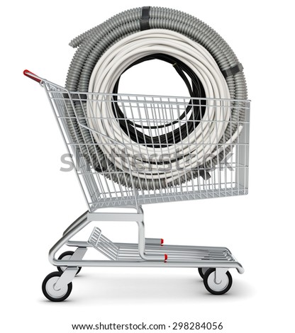 Cable in shopping cart on isolated white background