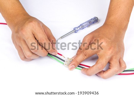 cable joint with pvc connector on isolated background - stock photo
