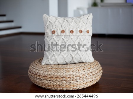 Cable knit ivory pillow cover - stock photo