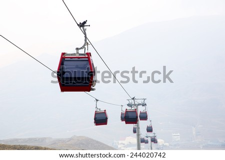Cable lifts on a ski center