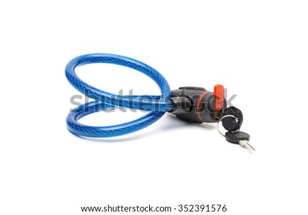 cable lock on the white background - stock photo