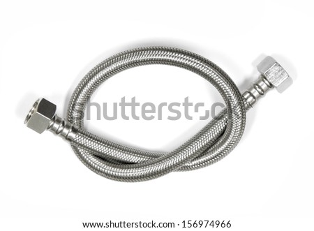 Cable metal hose on white background for supplies Water heater - stock photo