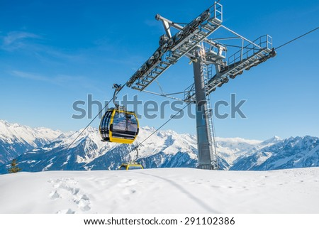 Cable ski lifts in Mayrhofen ski resort - Zillertal region, Austria - stock photo