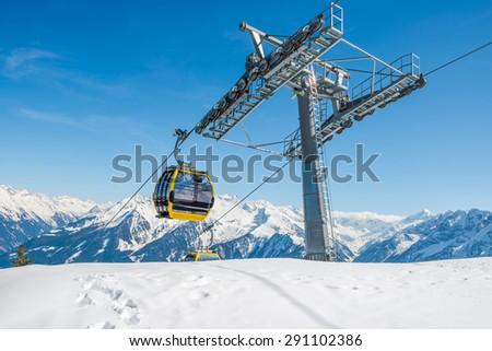 Cable ski lifts in Mayrhofen ski resort - Zillertal region, Austria - stock photo