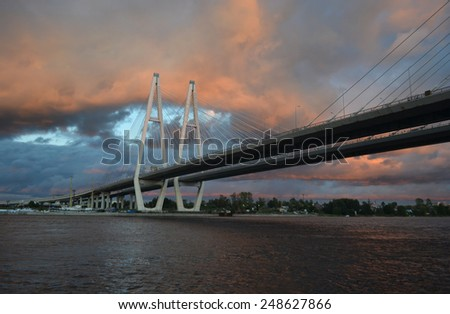 Cable stayed bridge at stormy day, St.Petersburg, Russia.