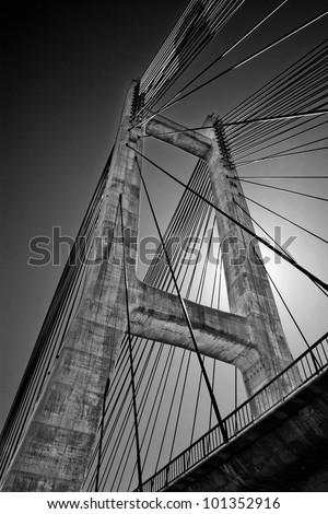 Cable-stayed bridge in Barrios de Luna reservoir, Leon, Spain - stock photo