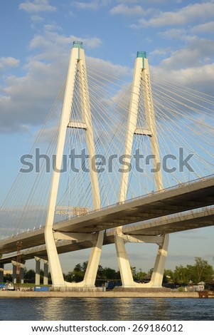 Cable-Stayed Bridge in St.Petersburg at sunny day, Russia.