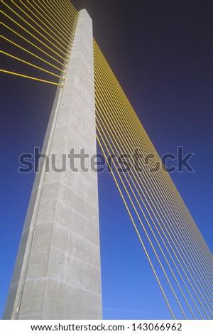Cable tower of the Tampa Sunshine Skyway Bridge at Tampa Bay, Florida - stock photo