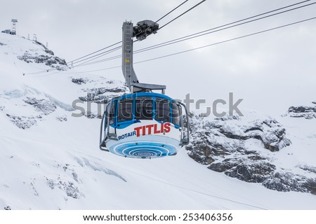 Cablecar to Mt. Titlis in Switzerland - stock photo