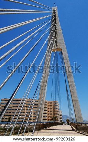 Cabled bridge across the Fuengirola river, Fuengirola, Costa del Sol, Malaga Province, Andalusia, Spain, Western Europe. - stock photo