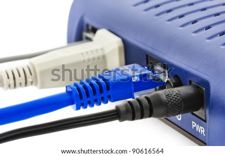 Cables and modem - communication technology background - stock photo